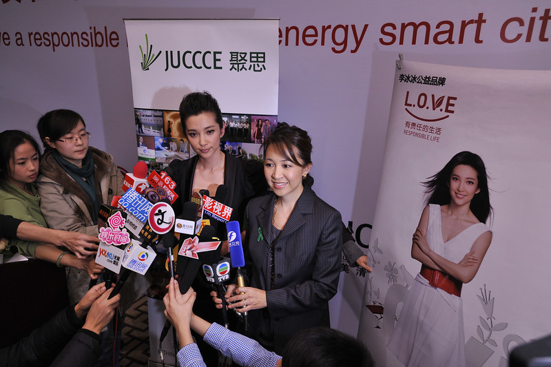 Actress  LI Bingbing and JUCCCE Chair Peggy Liu at press conference